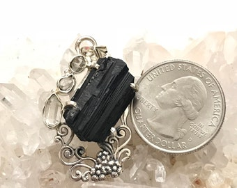 Black Tourmaline Rough and Herkimer Diamond Pendant Necklace