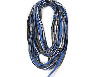 Statement Necklace, Infinity Scarf, Statement Jewelry, Travel Gift, Scarves for Women, Travel Accessories, Scarf Women, Blue Scarf