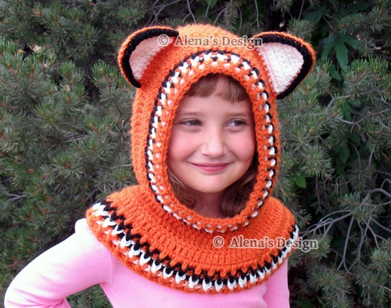 Crochet Pattern 139 - Crochet Cowl with Ears Hooded Cowl Crochet Patterns - Wolf Cowl Fox Cowl Cat Cowl - Animals Hat - Worsted Weight Yarn