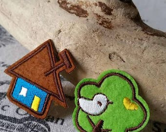 set x 2 sew on patch tree and House coat or iron