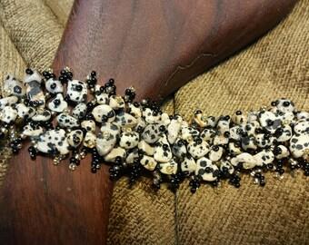 SALE #HonorSacrifice ~ Beaded Stone Chip Bracelet - Dalmatian Jasper
