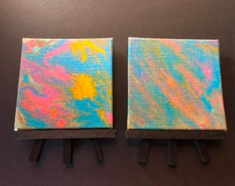Set of  4x4 Textured Multi Color Canvas With Easel