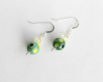 Swarvoski and Green Lampwork Bead Earrings, Polka Dot Beads, Sterling Silver Ear-wires
