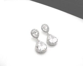 wedding jewelry bridal cubic zirconia dangle earrings white crystal teardrop sterling silver post