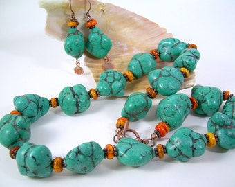 Bold Turquoise And Gemstone Nugget Necklace With Copper & Matching Dangle Earrings, Orange