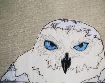 Printed pattern for arctic owl raw edge applique tutorial free motion embroidery