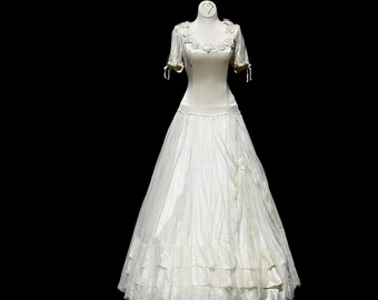 Vintage Cream White Satin & Mesh Full Length Evening Dress