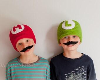 Mario and Luigi Hat set, Twins Halloween costumes, Twin Hat Set, toddler boy Halloween costume, Boys costume, sibling costume, group costume