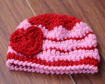 Baby hat, Baby girl, Newborn preemie hat, Twins baby hats, valentines newborn  infant hat, Crochet photo prop, valentines day gift for baby