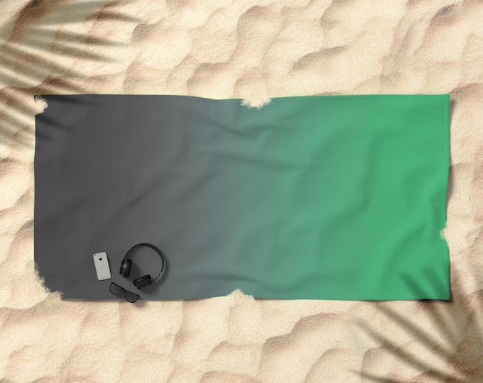 Beach Towel - Gray to Green Ombre - Over-sized  - Microfiber - Cotton Terry Cloth - Made to Order