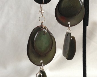 TAGUA EARRIGS,  Deep Jungle Green Petals with Dangles, One Of a Kind, Eco Friendly