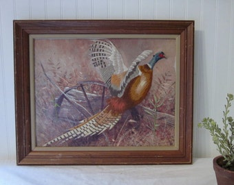 vintage Pheasant Crewel Needlework in Large Chippy, Rustic Wood Frame. Prairie Farmhouse Cabin Lodge Decor