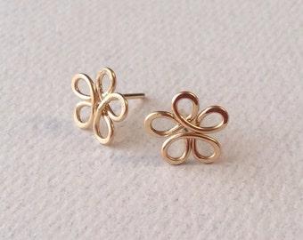 Tiny Gold Flower Post Earrings