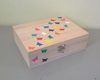 hand painted Tea Box butterfly box tea storage tea caddy jewellery box multi function box kitchen decor kitchen storage mothers day