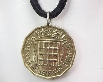 England Coin Necklace, 3 Pence, Coin Pendant, Three Pence, Leather Cord, Mens Necklace, Womens Necklace, 1964