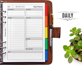 A5 Printable Daily Planner - Filofax Agenda Daily Organizer Pages PDF Printable Refill, Minimalist Daily Schedule Insert for Binder Planner