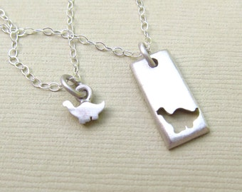 Little Dinosaur Mother Daughter Jewelry Set -  Dino Necklaces - Brontosaurus Necklace - Ready to Ship