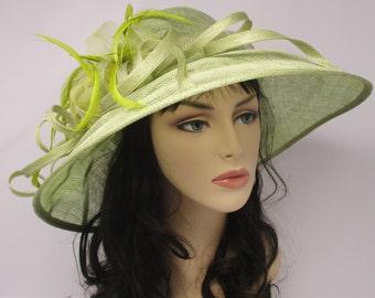 Kentucky Derby Church Tea  Wedding Hat Sinamay w Feathers Wide Brim Lime Green