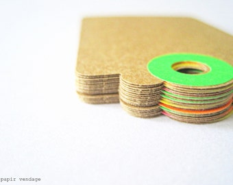 50  kraft tags with NEON hole reinforcements, recycled & eco friendly, wedding escort tags, party favors, wish tree tags, funky tags