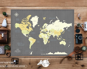 Personalized World travel map with pins  / Slate gray World map wall art  / Detailed Map of the world - Pin Adventure map