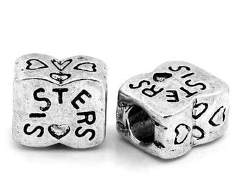SET of 3 bead spacer pandora (P27) silver style sisters sisters