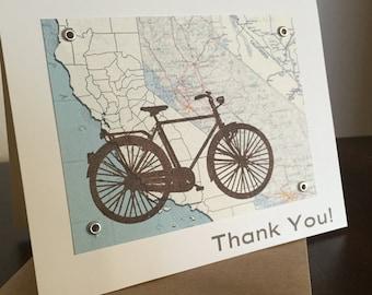 California Fahrrad und Karte - Siebdruck Dankeschön-Karte