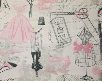 Vintage Paris French Fashion Sewing Mannequin Cotton Fabric Fat Quarter