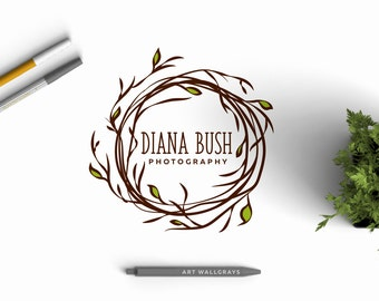 Floral Branch logo, pre made logo, Flower Logo design
