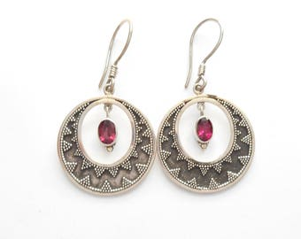 Unique dangle sterling Silver red Tourmaline gemstones Earrings / 1.75 inch long / silver 925 /  handmade jewelry granulation art
