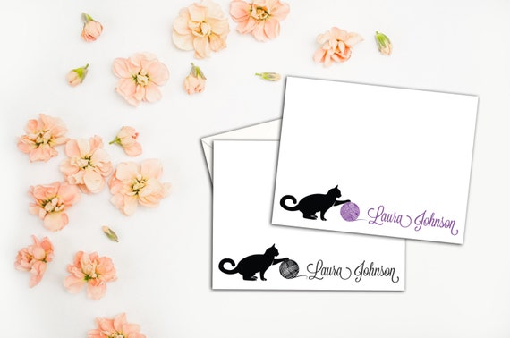 Cat Playing with Yarn Note Cards, Flat A2 Note Cards, Fun Kitty Stationery, Sets of 10 Includes Envelopes, Custom Kitty Note Cards