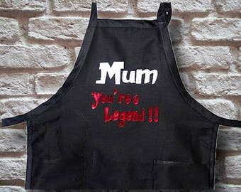Mum you're a legend Black red, white kitchen Chef Apron Cotton blend with 2 pockets and adjustable neck and 2 back ties Heavy duty quality