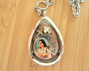 Confirmation saint floating locket! Pick your Confirmation saint- confirmation GIFT for girls teens catholic jewelry custom, made to order