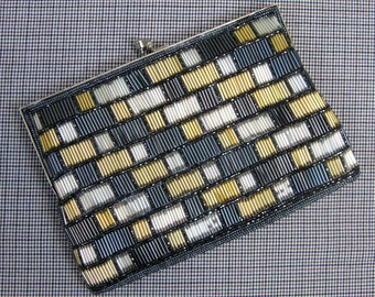 Vintage 1980s Beaded Clutch 80s Black Gold and Silver Beaded Evening Bag by Walborg
