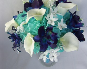 Mandy's Bridal Bouquet 1st Design All Turquoise Hydrangeas, Blue Violet Dendrobuim Orchids, White Calla Lilies