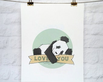 Panda 'Love You' Art Print 5x7 or 8x10