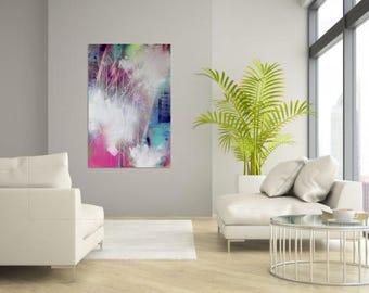 original extra large abstract painting, abstract modern art, XXL, colourful abstract painting, rosa white wall decoration, interior design