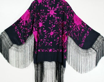 Embroidered Silk Fringe Jacket Kimono Maya Matazaro Black & Fuchsia Maya