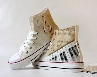 Piano, Sheet Music, Custom Made Shoes