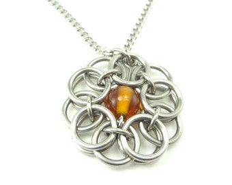 Celtic Knot Necklace Handmade In Chainmaille And Amber Glass