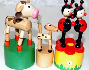 3 vintage wooden toys