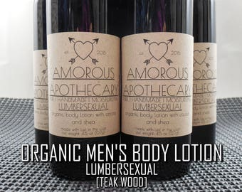 Organic Men's Body Lotion   Pure Vegan 5 oz. Lumbersexual Teak Wood-Scented Luxury Masculine Moisturizing Body Cream w/ Shea & Cocoa Butters
