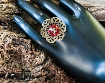 Bronze metal and Red Crystal ring