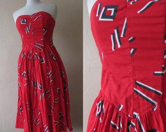1980s Red Summer Strapless Dress