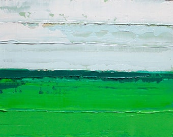 Abstract Landscape oil Painting, green landscape painting, green field painting, field of green