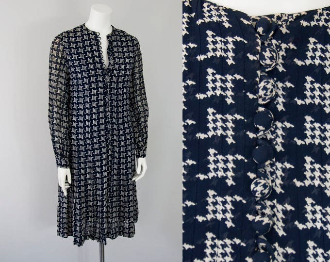 70s Oscar de la Renta Vintage Houndstooth Print Silk Dress (XS)