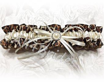 Leopard print wedding bridal leg garter, ivory or white accent with rhinestone embellishment.