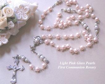 Light Pink  First Communion Rosary, Handmade Rosary, Catholic Rosary, Communion Gifts