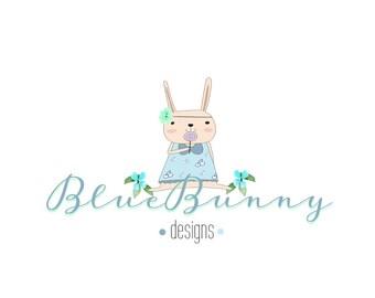 Premade Logo Design, Bunny Logo, Child Logo, Cute Logo, Floral Bunny Logo, Logo, Logos, Logo Design, Graphic Design, Cartoon Logo, OOAK,