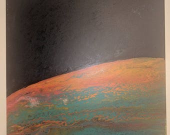 Planetrise- Acrylic Latex Abstract Painting Space
