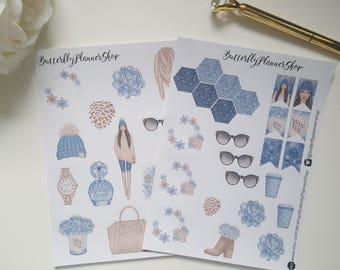 Planner winter girl stickers aufkleber